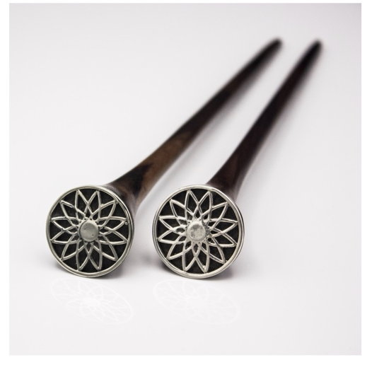 Деревянная палочка для волос с рисунком Мандала