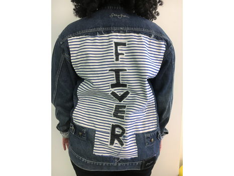 "Unique ""Fiver"" Designed Jean Jacket"
