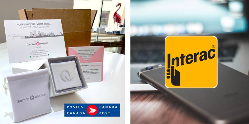 Set of boxes Flamme en rose for mailings with Canada Post and Interac logos.