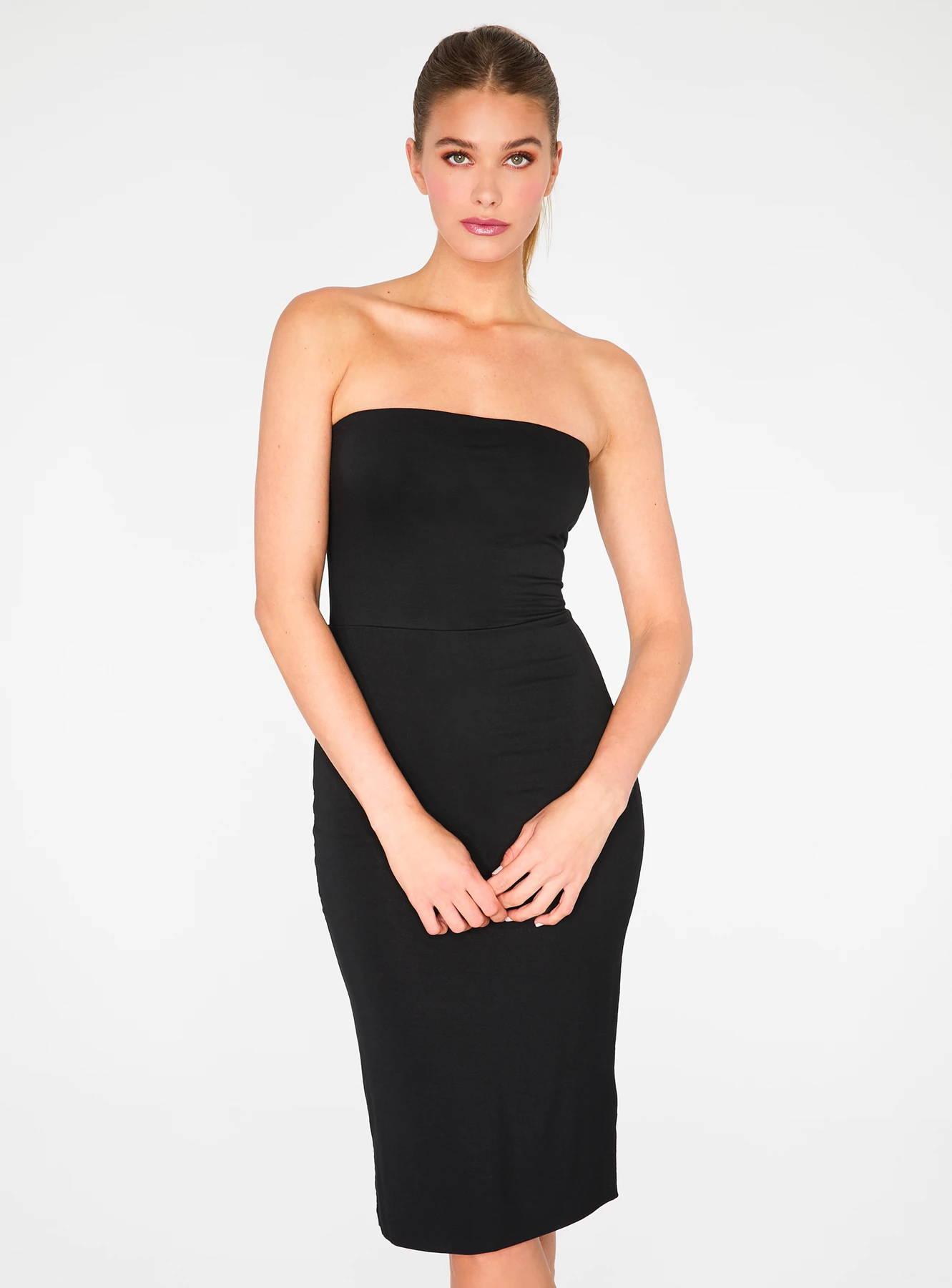 HeyYou Basic Black Strapless Midi Bodycon Dress