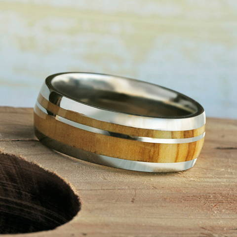 olive wood wedding band titanium pinstripe